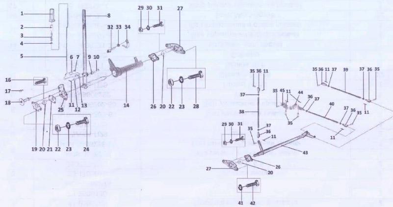 41-9305108 Управления бортовыми фрикционами и тормозами для вездехода ГАЗ-34039