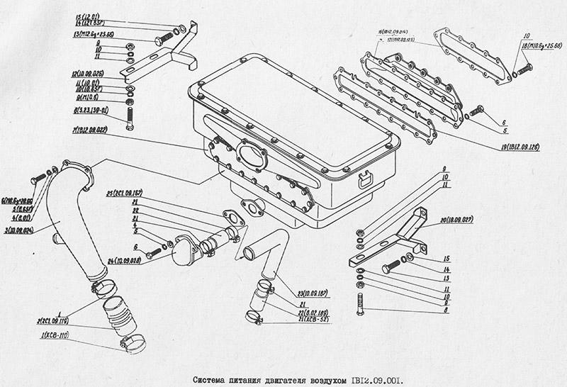1В12.09.001 Система питания двигателя воздухом для вездехода МТЛБу