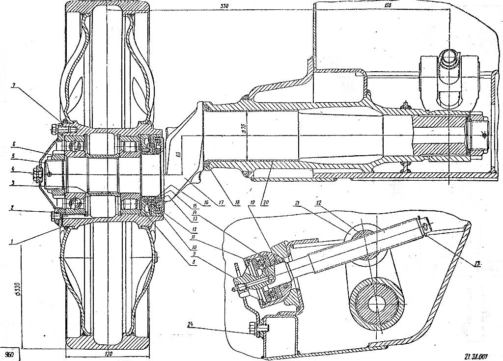 Колесо направляющее с натяжным устройством для вездеходов ГТ-Т