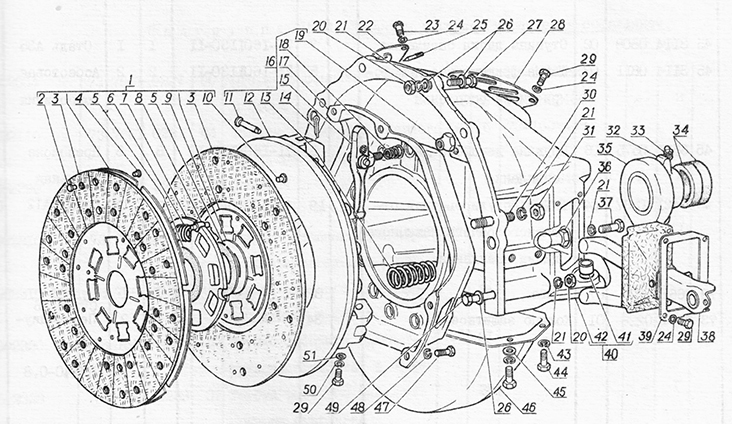 Сцепление для вездеходов ГАЗ-73 ГТМУ