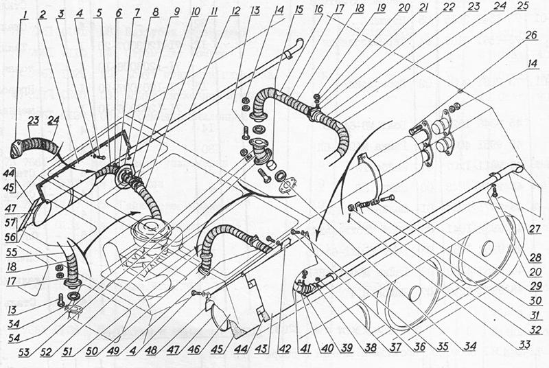 Система выпуска отработавших газов для вездеходов ГАЗ-73 ГТМУ
