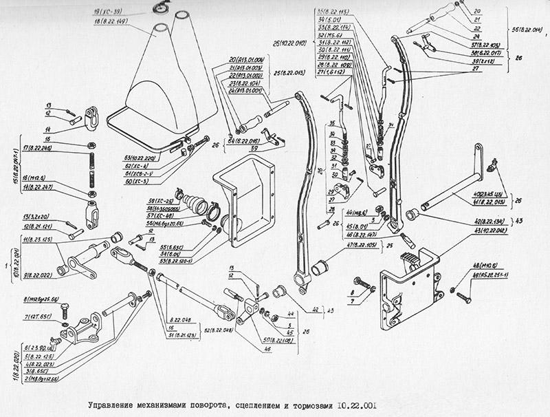 10.22.001 Управление механизмами поворота, сцеплением и тормозами для вездехода МТЛБу